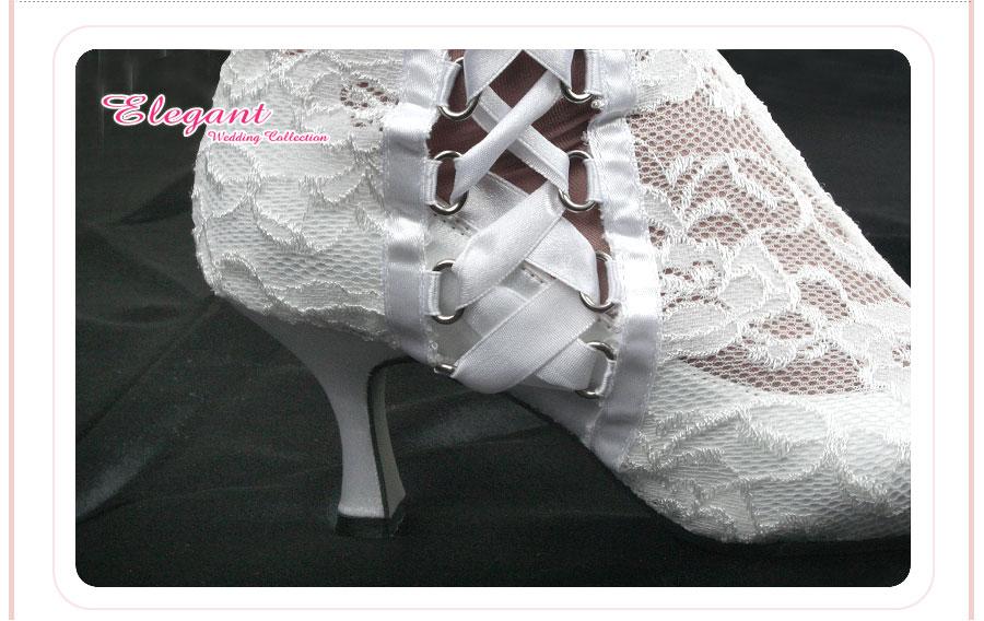 elegant10正品新款婚鞋*靴子*女鞋可爱优雅蕾丝白色m