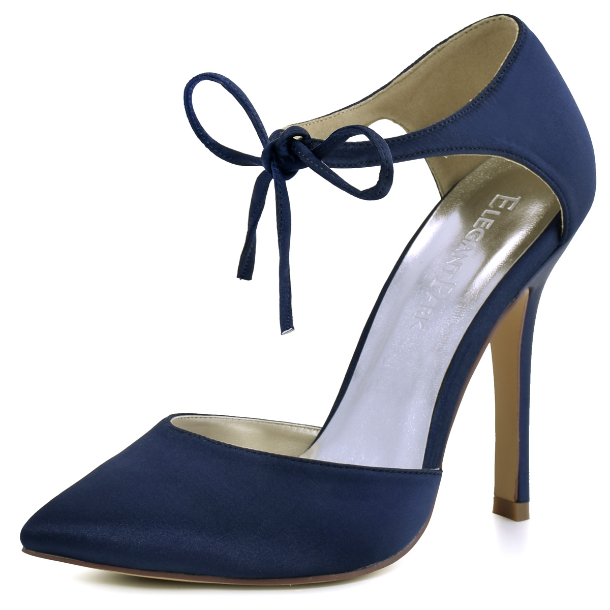 Hc1610 navy high heel wedding dress shoes pointed toe for Heels for wedding dress